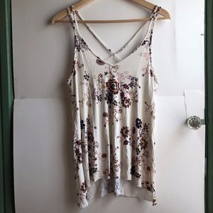 AMERICAN EAGLE Cream Ivory Strappy Floral Tank Top